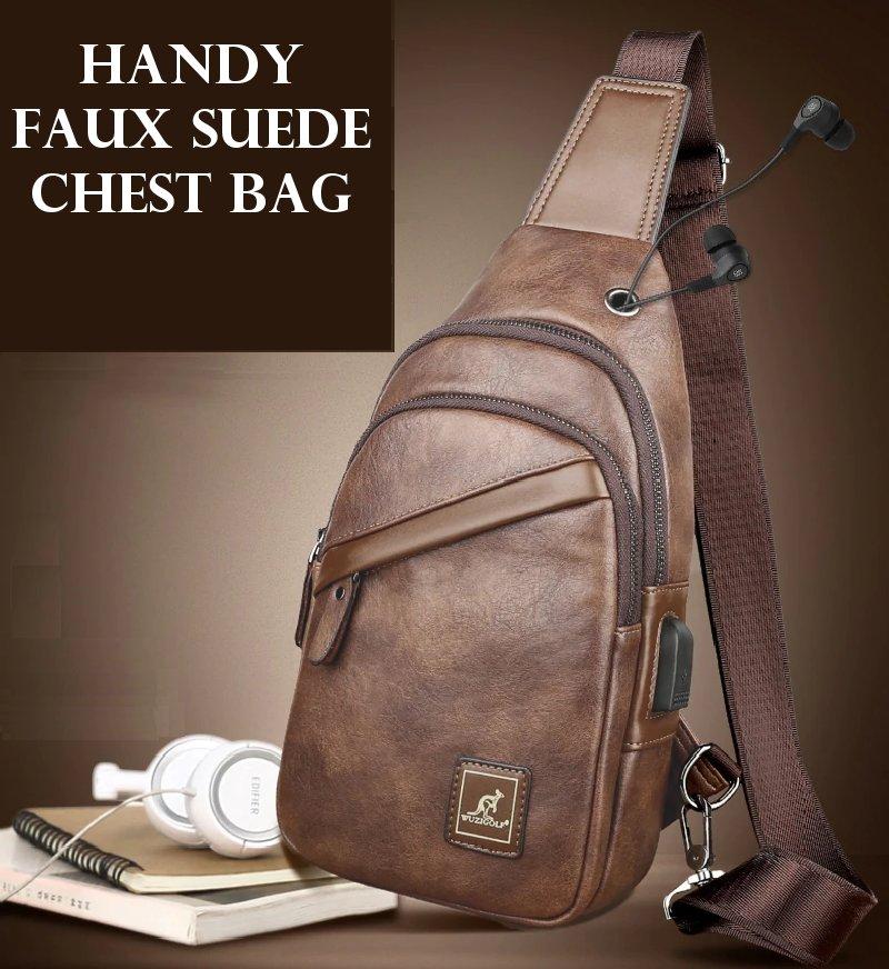 faux suede chest bag